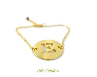 Connector and 24 k gold plated bracelet letter E