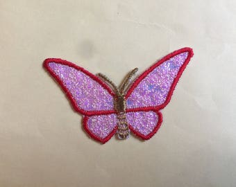 Applied fusible Butterfly red shiny pink and gold embroidered thread