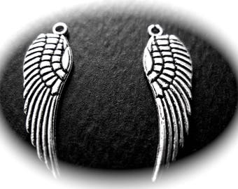 Silver 3D feather 10 Angel Wings charms