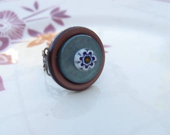 Button and green and Brown Murano millefiori mosaic ring flower