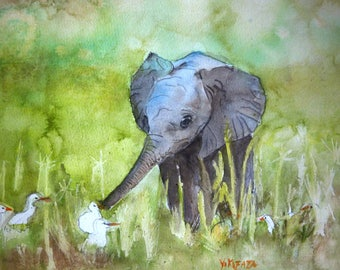 watercolor elephant and egrets, a baby elephant