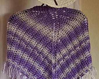 Scarf / shawl made hand knit in shades of purple