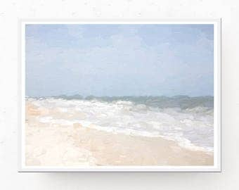 Beach Digital Download - Coastal Wall Art, Beach Painting, Beach Download, Coastal Decor, Pastel Decor, Beach Wall Art, Printable Wall Art