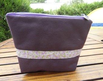 Makeup Bag purple leather