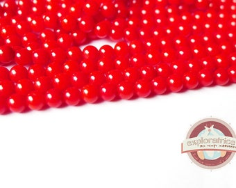 20 round 3mm hole 0.5 mm red coral gemstones