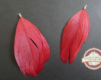 2 pendants 75mm red Rooster feathers