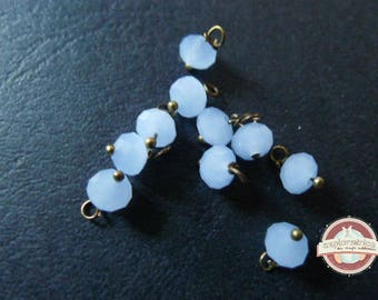 10 charms 6x8mm faceted blue glass round beads