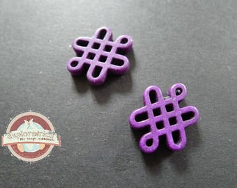 2 beads Chinese knots howlite purple ethnic 15x20mm
