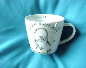 "Cup or mug personalized, humorous, ""leapfrog"" kids origial gift and fun.   ."