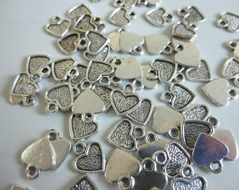 10 charms silver metal heart shape