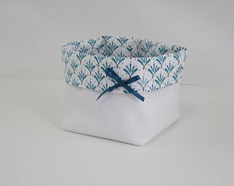 Basket storage - turquoise, white faux leather