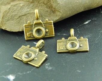2 antique bronze camera charms pendants