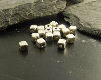 Antique set of 10 4 x 4 silver spacer beads