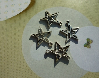 2 double star pendant charms hollow 23x21mm