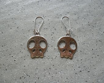 Skull, skull silver metal earrings