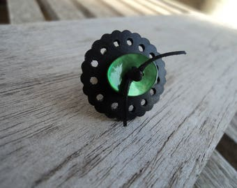 Inner and Green Pearl button - lace - vegan leather ring - fashion ring effect ring in inner oval ring