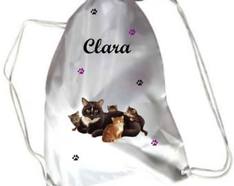 Pool cat and kittens gym bag personalised with name