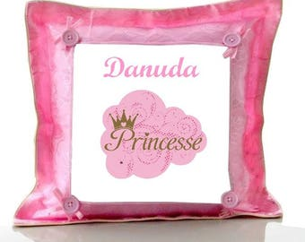 Princess pink cushion personalised with name