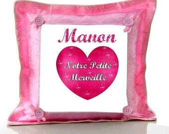 Cushion Pink Marvel personalized with name