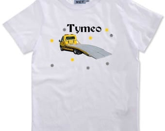 T-shirt boy truck personalized with name
