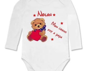 My heart Bodysuit is personalized with name dad