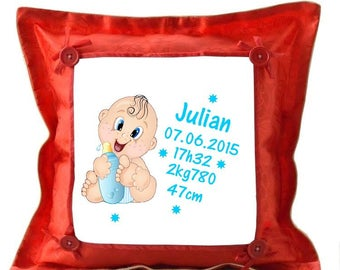 Red pillow birth personalised with name
