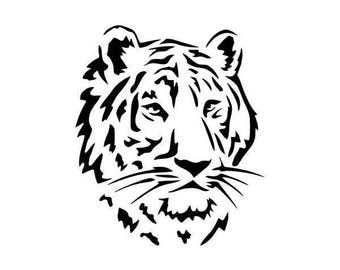 "P.V.C 200 Micron ""tiger head"" stencil reusable 19 x 17 cms (possible other sizes)"