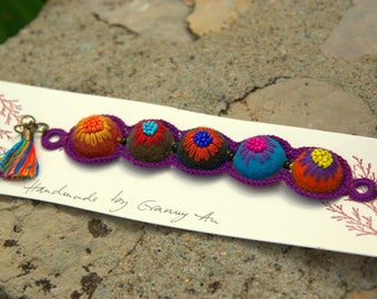 Colorful felt and embroidered wool (# 5) bracelet
