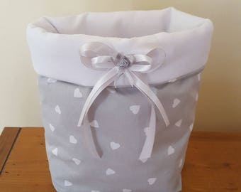 TIDY BASKET CHARM ROMANTIC SOFT GREY FABRIC AND WHITE