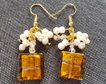 Square Brown and white glass Pearl Earrings