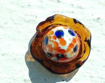 Floral Lampwork Glass cabochon