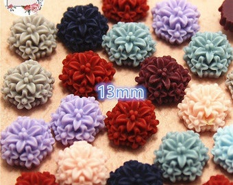 10 mix color, about 13mm resin flower cabochons