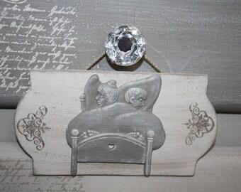 Wood and metal for bedroom door plaque