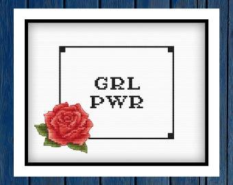 GRL PWR - cross stitch pattern PDF | Women cross stitch | Feminist embroidery | Women's day | Flowers cross stitch | Modern cross stitch |