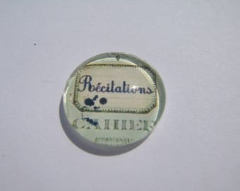 Cabochon 18 mm round domed with a picture of recitations