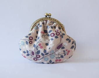 Retro purse in birds, flowers, pink background print fabric
