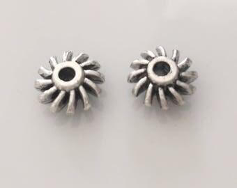 silver metal beads