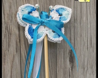 20 sticks ribbons butterflies for Church outing: turquoise and white crochet and satin ribbon