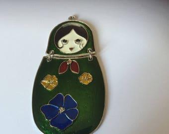 Doll Russian green enamel