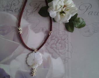 Necklace large Pearl flower and stars