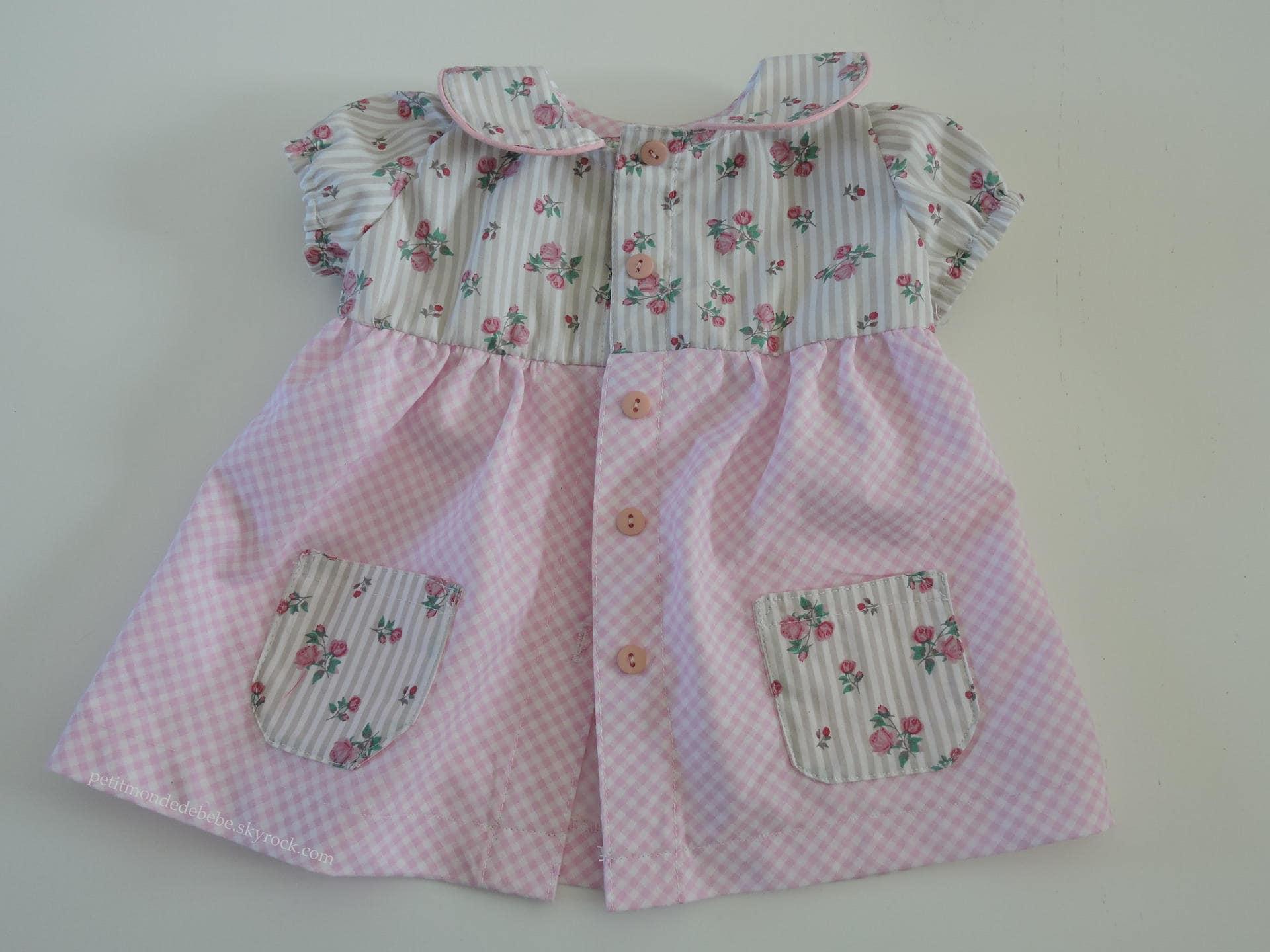 Baby summer dress fabric & floral fabric gingham Peter Pan collar
