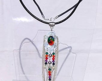 Choker necklace in black leather and multicolor cabochon pendant, Ethiopian Opal beads,