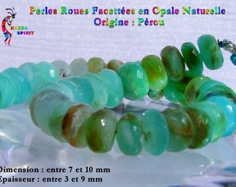 6 beads faceted opals from Peru from 7 to 10 mm thickness 3-9 mm