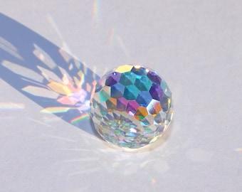 Large 16 mm faceted Fire Ball Aurora Borealis Swarovski Crystal Cabochon
