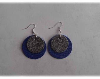 Leather - blue/gray Silver earrings earrings