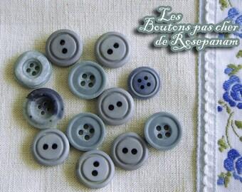 12 buttons varied dyed grey blue plastic diameter 1.2-1.5 cm set of vintage buttons