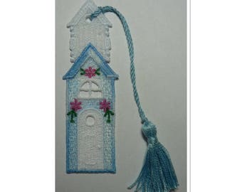 Bookmark home degraded blue lace decorated with pink flowers