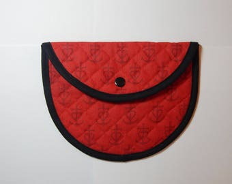 RED FABRIC FROM PROVENCE CAMARGUE CROSS PRINT CLUTCH