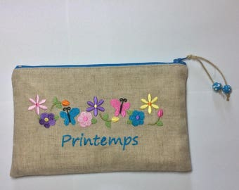 SPRING TEXT WITH FLOWERS EMBROIDERED LINEN CASE
