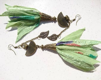 "Earrings ""Aiyana"" or everlasting flower. Bronze silk recycled sari from India and colored finishes."